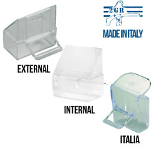 Italy 4 Pcs Bird Cage Seed Water Food Feeder Clear Plastic Hood Cup External