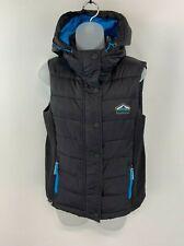 SUPERDRY Womens Gilet Body Warmer Medium Black Nylon Hooded Fiji Double Zip Vest