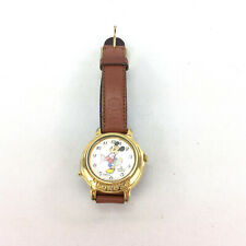 Mickey Mouse Watch Lorus Quartz Brown Leather Band Gold Color Disney Vintage