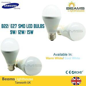 B22/ E27 DIMMABLE Samsung LED Chip BAY/ ES 9W 12W 15W WARM/COOL WHITE Bulb Globe
