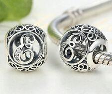 Hot Letters E European Silver CZ Charm Beads Fit sterling 925 Bracelet Chain