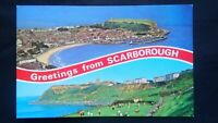 GREETINGS FROM SCARBOROUGH CASTLE SOUTH BAY ORIGINAL POSTCARD C1960 ? UNUSED