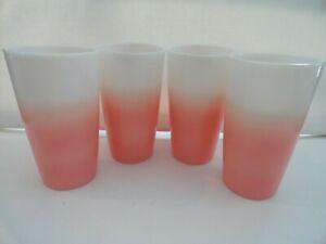 Vintage Hazel Atlas Crinoline Ripple Pink & White Tumblers RARE - Set of 4