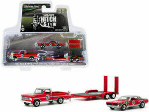 1967 FORD F-100 & MERCURY COUGAR #98 D. GURNEY & TRAILER 1/64 GREENLIGHT 31090 A