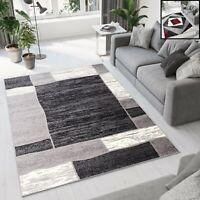 Teppich Kurzflor Grau Rot Modern Geometrische Figuren Designer Wohnzimmer NEU