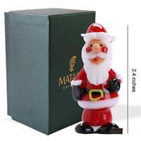 Murano Christmas Winter Decorative Glass Standing Santa Figurine Gift by Matashi