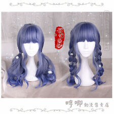 Wig Harajuku Long Sweet Dolly Lolita Cosplay Gradient Curly Princess Navy blue
