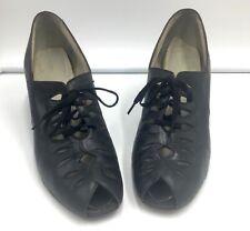 "Vintage 1940s Natural Bridge Black Leather Lace Up Pumps Size 8 Aaa 2 1/2"" Heel"