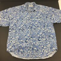 Vintage Guess by Georges Marciano Hawaiian Aloha Shirt USA Mens Size Large Blue