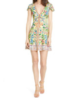 Alice + Olivia Hadley Floral Fit & Flare Dress 12 Yellow Floral V-neck - DEFECT
