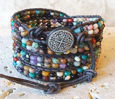 Mix #1 Gemstone Rondelle Beaded Handmade Leather Wrap Bracelet