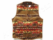 New Ralph Lauren RRL Brown Indian Print Poly Blend Warm Fleece Vest size XL