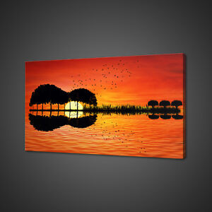 GUITAR ISLAND SUNSET CANVAS PICTURE PRINT WALL ART HOME DECOR FREE DELIVERY