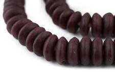 Jumbo Red Black Swirl Rondelle Recycled Glass Beads 20mm Ghana African Sea Glass
