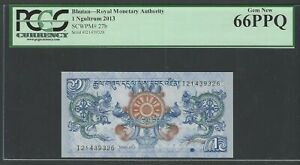 Bhutan 1 Ngultrum 2013 P27b Uncirculated Grade 66