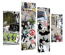 CREAM BANKSY MONTAGE CANVAS PRINTS WALL ART GRAFFITI COLLAGE PICTURES 4 PIECE