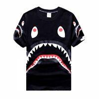 Men's Cotton T-Shirt Bape Shark Mouth Black/White Size M/L/XL 3 Head Three Shark