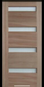 External 4 Small Horizontal Glass Timber Door With Clear glass