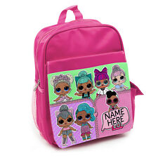 Personalised Girls Backpack LOL DOLL Bag SURPRISE Childrens School Pink KS118