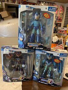"""Lot Of 3 2004 Jazwares Megaman, Megaman X & Axl 10"""" Figures All Sealed"""