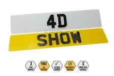 PAIR Of 4D Laser Cut SHOW PLATES UK Number Plates Gloss Black Novelty Car