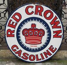 """Vintage Red Crown Gasoline Porcelain Enamel Sign 30"""""""