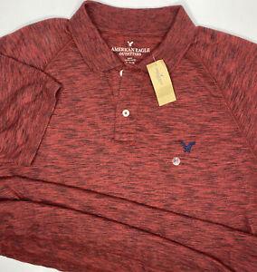 American Eagle Polo Shirt Slim Fit Short Sleeve Heather Red Black Men XL NWT
