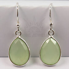 Earrings 925 Solid Sterling Silver Checker Faceted GREEN CHALCEDONY Gemstones