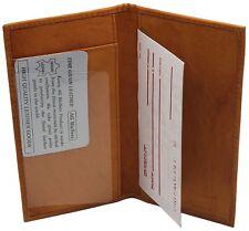 Genuine Cowhide Leather Slim Plain Checkbook Cover Tan