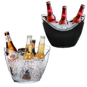 Party Drinks 3L Ice Bucket Acrylic Clear Black Bowl Champagne Wine Cooler Beer