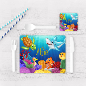Personalised Sea Life Fish Animals Kids Children's Table Placemat & Coaster