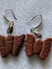 Gold Stone Butterfly Earrings