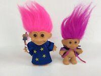 TROLL Wizard Dolls Purple & pink hair brown eyes, Russ 1990's