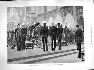 Old Antique Print 1883 Funeral Service Prince Charles Prussia Domkirche 19th