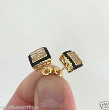18K Gold Finish 0.25 ct. VS2 Lab Diamond Square Screw Back Stud Earrings 10mm