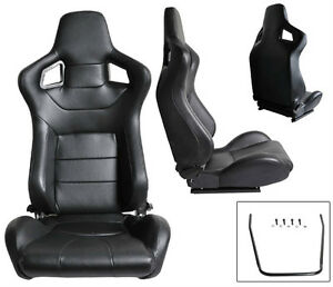 NEW 1 PAIR BLACK PVC LEATHER RECLINABLE RACING SEATS FOR ALL FORD ****