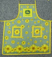 Awesome new apron John Deere tractor green farm sunflower flower logo