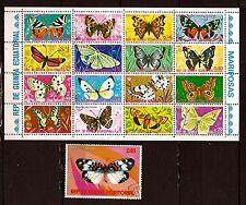 GUINEE EQUATORIAL BLOC 16+1 Timbre.:Papillons communs et nuisibles .BL 89