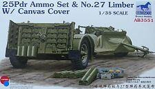 BRONCO AB3551 Ammo Set 25Pdr & No.27 Limber w/Canvas Cover in 1:35