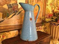 French Antique Blue Enamelware Body Pitcher Graniteware Normandy
