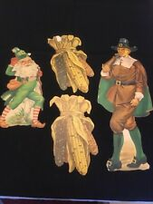 Lot Of 4 Vintage Paper Die Cut Decorations- Pilgrim, 2 Indian Corn, Holiday Elf