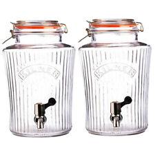 2PK Kilner 8L Vintage Drinks Dispenser Clip Top Glass Jar for Water/Party/Event
