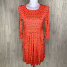 LAURA ASHLEY • Red Bird Print Trapeze Dress With Pockets • Size 8