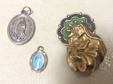 Catholic ST. THERESE OF LISIEUX  Medal Charm with Blue & Green Enamel, Medal Lot