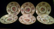 """6 Hammersley Lady Eileen 6 3/4"""" Salad Plates with Gold Trim"""