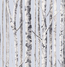 Birch Periwinkle Blue White Country Forest Trees Vintage Double Roll Wallpaper