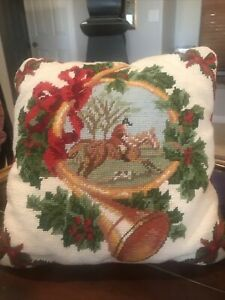 Needlepoint Christmas/Holiday Vintage Pillow13x13 Equestrian Scene Hunting Horn