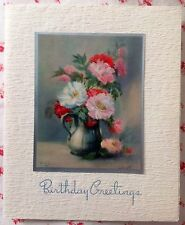 Vintage 1940s Unused Birthday Greeting Card Flower Vase Artist Signed Litho
