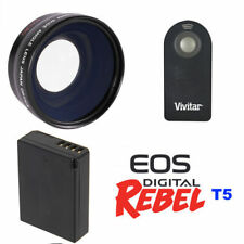 WIDE ANGLE FISHEYE LENS + REMOTE + BATTERY FOR CANON EOS REBEL T5 DSLR
