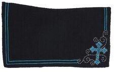 "Western Saddle Blanket - Contour Black Wool - Turquoise Crystal Cross - 34""x38"""